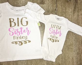 Big Sister Little Sister Outfits | Sister Shirts | Matching Sister Shirts | Personalized Sister Shirts | Big Sister Shirt | Little Sister