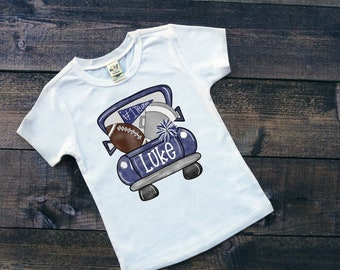 Football Shirt | Personalized Football Shirt | Football Shirts for Boys | Team Spirit | Watercolor Football Shirt | Football Truck Shirt
