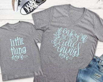 Mommy and Me Shirts | Matching Shirts | Enjoy the Little Things | Mother Son Shirts | Mom Life | Littles | Motherhood |