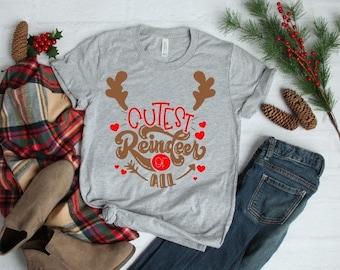 Kids Christmas Shirt | Cutest Reindeer of All Shirt | Funny Christmas Shirt | Matching Sibling Shirts | Christmas Reindeer Shirt | Rudolph S