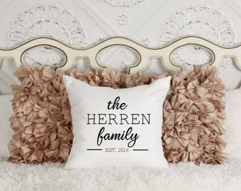 Custom Family Pillow | Custom Pillow Cover | Family Name Throw Pillow Cover | Housewarming Gift | Personalized Wedding Gift | Family Name