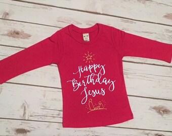 Christmas Shirt for Girls | Girls Christmas Shirt | Happy Birthday Jesus | Baby Girl Christmas | Girls Holiday Shirt