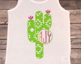 Girls Tank   Cactus Shirt   Girls Cactus Tank   Monigeammed Tank   Girls Summer Tank   Monogram Shirt for Girls   Personalized   Serape