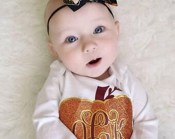 Girls Fall Shirt | Pumpkin Monogram | Glitter Pumpkin Shirt | Fall Shirt for Girls | Baby Girl Fall Outfit | Personalized Pumpkin Shirt