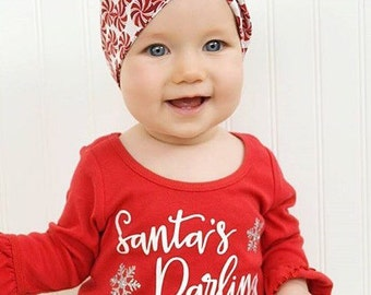 Girls Christmas Dress | Baby Girl Christmas Outfit | Christmas Dress for Girls | Santa's Darling | Girls Santa Dress