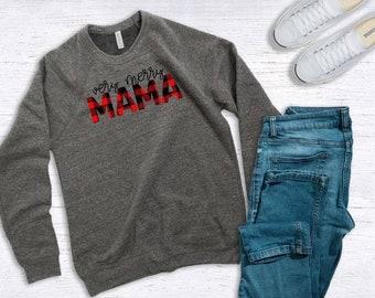 Womens Christmas Sweatshirt | Mama Sweatshirt | Very Merry Mama | Buffalo Plaid Sweatshirt | Christmas Mama Sweatshirt
