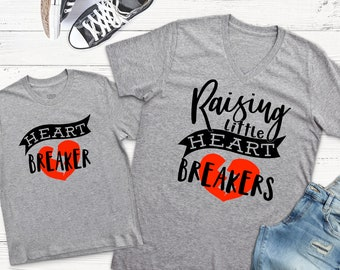 Mommy and Me Shirts, Matching Shirts, Raising Little Heart Breakers, Mommy and Me Valentine Shirts, Mothers Day Gift, Mother Son shirts