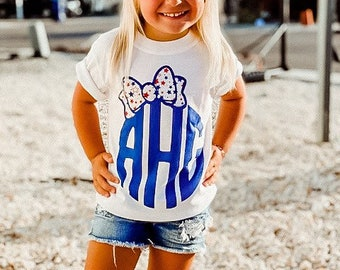Girls July 4th Shirt | All American Girl | Patriotic Shirt | Girls July 4th Shirt | Patriotic MonogrAm Shirt| Red White and Blue Shirt |