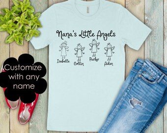 Nana shirts | Grandma Shirt | Nana Life Shirt | Mothers Day Gift | Gifts for Mom | Nana's Little Angels | Personalized Grandkids Shirt | Nam