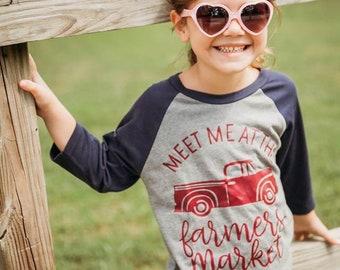 Kids Fall Shirt, Womens Fall Shirt, Meet Me at the Farmers Market, Fall Raglan, Farmers Market Shirt, Fall Shirts for Girls, Fall Shirts for
