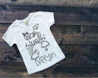 Kids Coloring Shirt | Coloring Book Shirt | kids DIY Color Shirt | Unicorn Coloring Shirt | Easter Gifts for Girls