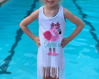 Girls Dress | Flamingo Shirt | Personalized Girls Shirt | Girls Fringe Dress | Swim Coverup | Girls Summer Tank | Flamingo Tank | Flamingo