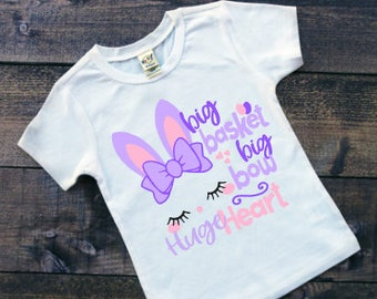 Girls Easter Shirts | Easter Shirts for Girls | Big Bow Shirt | Big Bow Big Heart | Bunny With Bow Shirt | Bow Easter Shirt