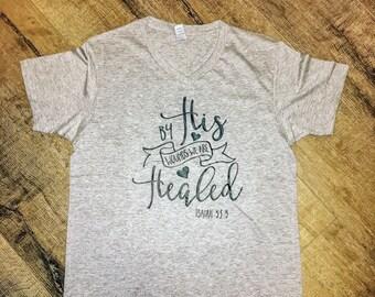 Women's Christian Tee | Ladies Bible Verse Tshirt | Ladies vneck Shirt | Jesus Saves | Jesus