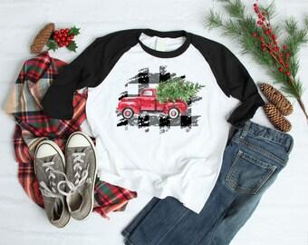 Christmas Shirt for Kids | Womens Christmas Shirt | Boys Christmas Shirt | Girls Christmas Shirt | Buffalo Plaid |  Vintage Christmas Truck