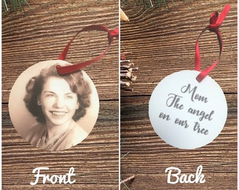 Christmas Ornament | In Memory of Ornament | Custom Photo Ornament | Angel on our Tree | Memorial Ornament | First Christmas Without Loved O