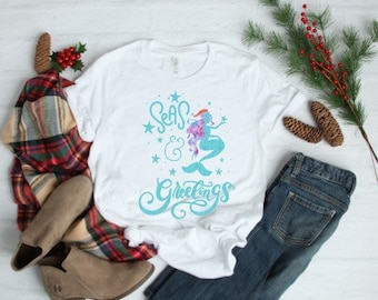 Women's Christmas Shirt | Kids Christmas Shirt | Mermaid Christmas Shirt | Christmas Cruise Shirt | Christmas Beach Shirt | Seas and Greetin