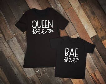 Mommy and Me Shirts | Matching Shirts | Queen Bee Shirt | Mom and Toddler Shirts | Bee Shirt | Bae