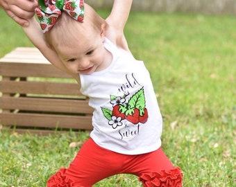 Girls Tank | Strawberry Shirt | Girls Strawberry Tank | Wild and Sweet | Girls Summer Tank | Strawberry Shirt for Girls