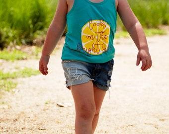 Girls Tank   Lemon Shirt   Girls Lemon Tank   Look on the Bright Side   Girls Summer Tank   Lemon Shirt for Girls   Lemonade Shirt