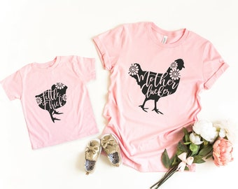Mothers Day Gift | Mommy and Me Shirts | Funny Matching Shirts | Mother Daughter Shirts | Chicken Shirts | Mother Clucker | Little Chick