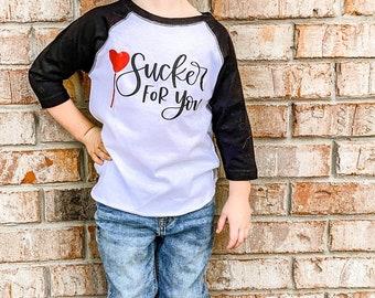 Kids Valentine Shirts, Boys Valentine Shirts, Sucker For You Valentine Shirt, Valentine Heart Sucker Shirt, Valentine Sucker