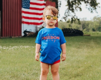 Patriotic Shirt | July 4th Shirt | Memorial Day Shirt | Let Freedom Ring | Freedom Shirt | Red White and Blue | American Flag | Girls July 4