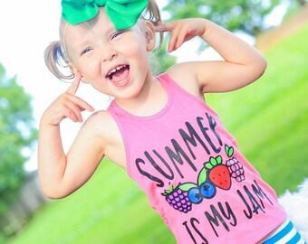 Girls Tank   Fruit Shirt   Girls Fruit Tank   Summer is My Jam   Girls Summer Tank   Strawberry Shirt for Girls   Fruit Shirt
