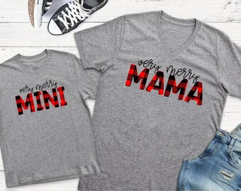 Mommy and Me Christmas Shirts | Womens Christmas Shirt| Matching Shirts | Very Merry Mama | Buffalo Plaid Shirts | Gifts for Mom