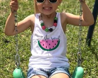 Girls Tank   Watermelon Shirt   Girls Watermelon Tank   Aint She Sweet   Girls Summer Tank   Watermelon Shirt for Girls  Fruit Shirt