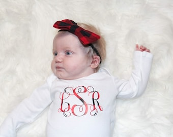 Baby Girl Christmas Outfit | Buffalo Plaid Shirt | Girls Winter Shirt | Plaid Monogram Shirt| Mongram Shirt for Girls | Monogram Christmas