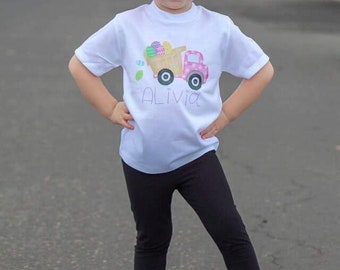 Girls Easter Shirts | Easter Shirts for Girls | Personalized Easter Shirt | Monogrammed Easter Shirt | Easter Dump Truck | Easter Egg Shirt