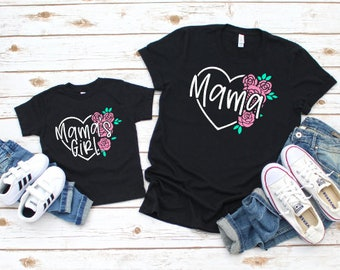 Mommy and Me Shirts | Matching Shirts | Mama | Mama's Girl | Twinning | Floral mommy and me shirts | Mama and Mama's Girl Shirts | Mother's