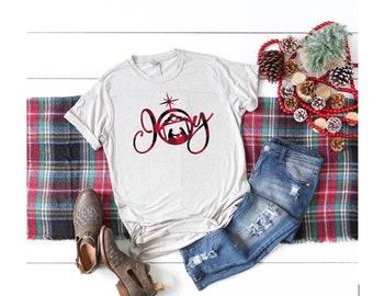 Womens Christmas Shirt | Buffalo Plaid Christmas Shirt | Nativity Scene Shirt | Joy Shirt | Christmas Shirt for Women |