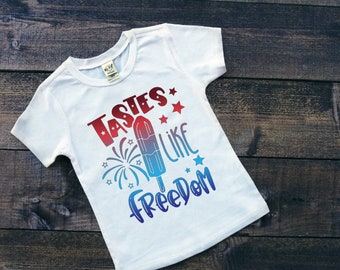 Kids Patriotic Shirt | July 4th Shirt | Memorial Day Shirt | Bomb Pop Shirt | Tastes Like Freedom | Funny July 4th Shirt | Patriotic Popsicl