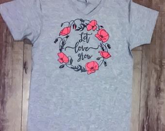 Women's Graphic Tee | Christian Faith Vneck Shirt | Flower Tshirt | Let Love Grow