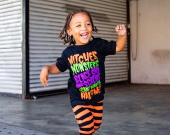 Kids Halloween Shirt | Witches Monsters Black Cats | Halloween Shirt for Boys | Halloween Shirt for Girls | Halloween Shirt for Kids| Hallow