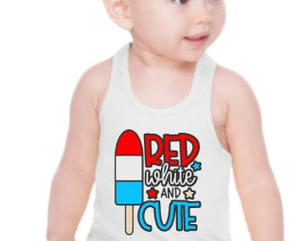 Girls July 4th Tank | Red White and Cute | Patriotic Tank | Bomb Pop Shirt | Girls July 4th Shirt | Patriotic Girls Tank | Red White and Blu
