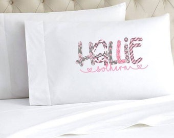 Personalized Pillow Case | Monogrammed Pillow Case | Faux Applique Pillow | Stocking Stuffers | Christmas Gifts for Kids | Name Pillow Case