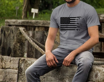 Fathers Day shirts | Hunting Shirt | American Flag Rifle Shirt | Sportsman Shirt | Fathers Day Gifts | Mens Hunting Shirt | Flag Guns Shirt