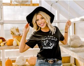I Put a Spell on You Shirt, Basic Witch Shirt, Spell Book shirt, Vintage Halloween Shirt, Women's Halloween Shirt, Halloween Witch Shirt