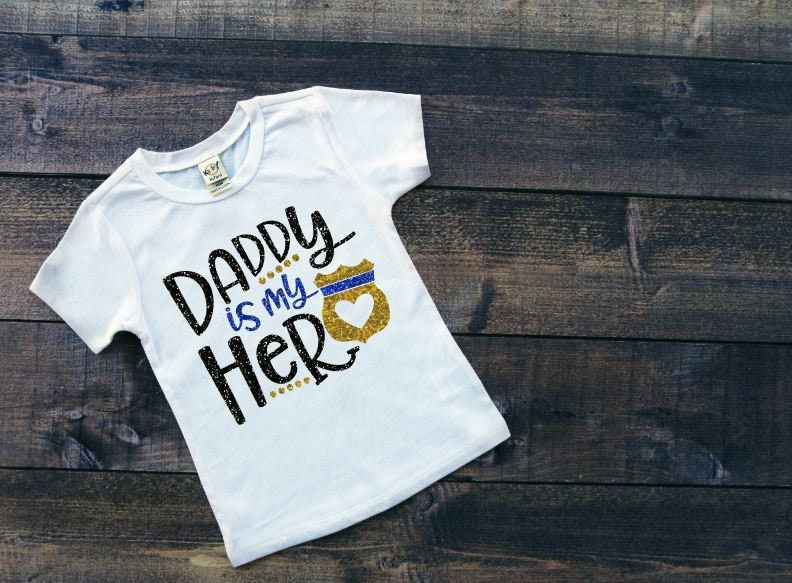 Daddy Is My Hero Shirt Leo Shirt Police Officer Daddy Shirt Thin Blue Line Shirt My Dad Is A Hero Blue Line Shirt Girls Police S