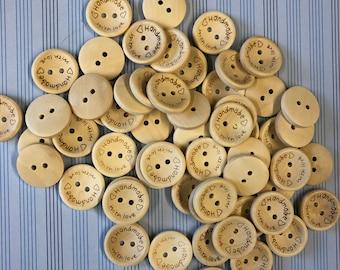 """Knöpfe """"Handmade with love"""" 15 oder 20mm aus Holz mit Gravur zwei Löcher"""