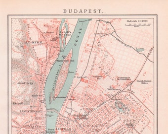 Vintage budapest map print etsy map of budapest from 1890 budapest hungary budapest map map of budapest capital city map map of hungary hungary map maps world maps gumiabroncs Choice Image
