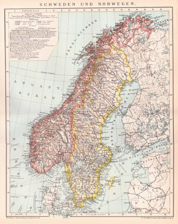 Antique Map Of Sweden And Norway From 1890 Norway Sweden Etsy