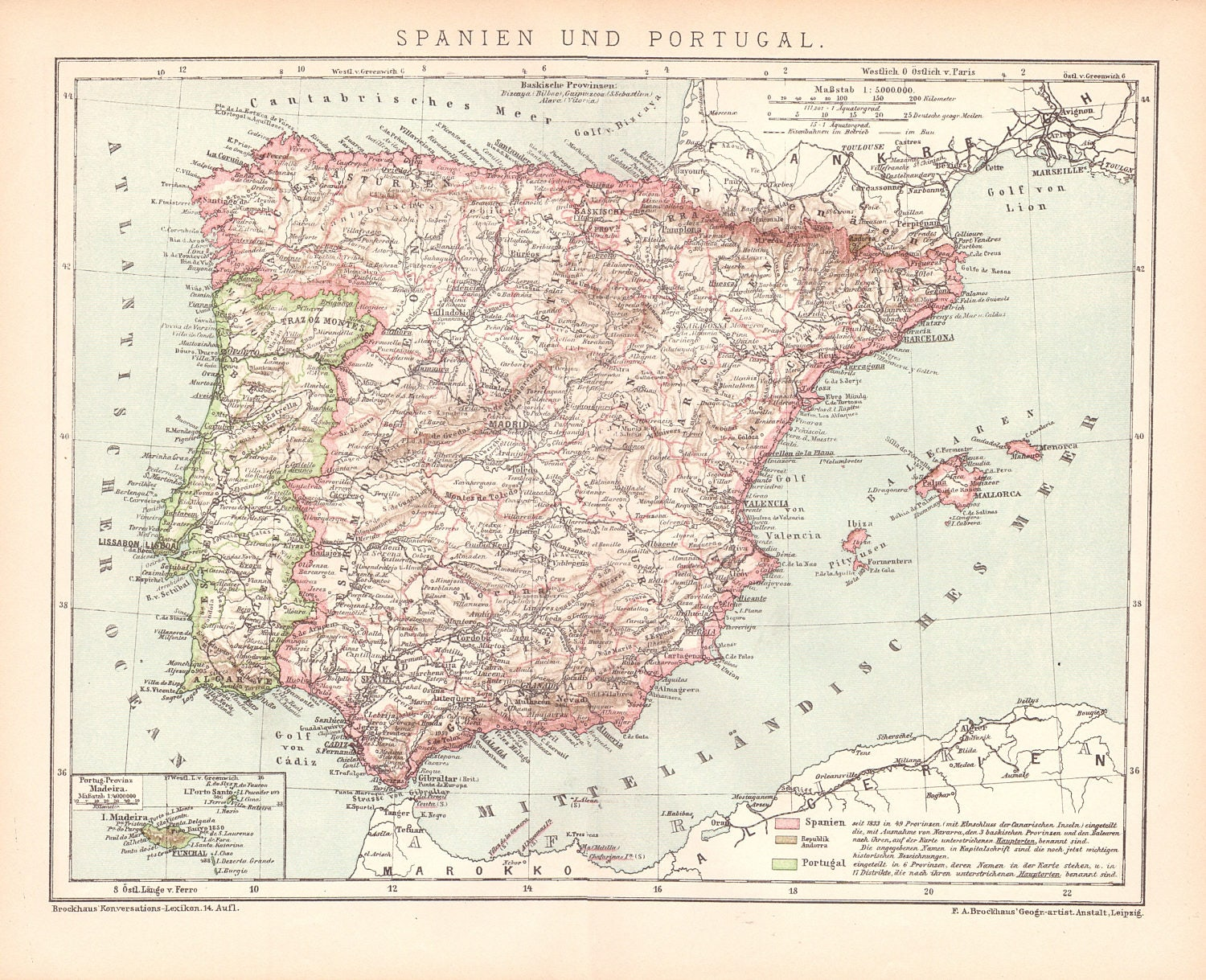 Map Of Portugal And Spain.Antique Map Of Spain And Portugal From 1890 Spain Portugal Etsy