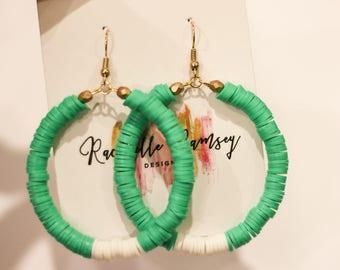 Green/white earrings