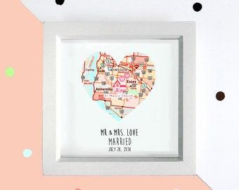Personalised wedding heart map frame, engagement frame, Southwestern wedding, framed map print, wedding frame