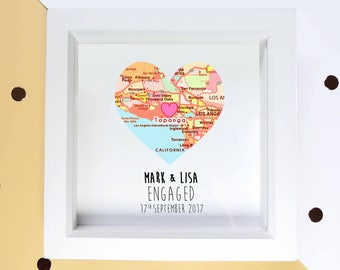 Engagement gift, couples frame, proposal gift, map heart frame, engagement map gift, gift for couple, custom wedding gift
