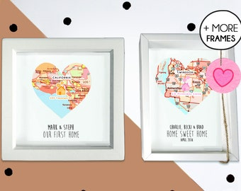 Personalised new home print - heart map print - housewarming gift - vintage map - new home gift - first home gift